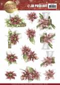 3D Pushout - Precious Marieke - Merry and Bright Christmas - Poinsettia in Red